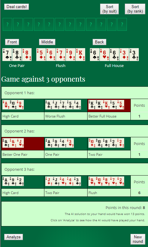 Play Online Chinese Poker